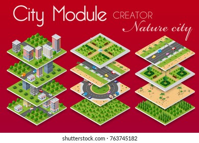 City module builder constructor isometric concept of urban infrastructure business. Vector building illustration of natural park alley square with with trees, benches, paths and lawns