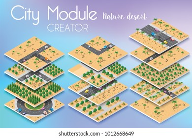 City module creator isometric concept of urban infrastructure business. Vector desert natural landscape and collection of urban elements architecture, home, construction, block and park