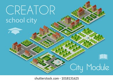 City module creator isometric concept of urban infrastructure. Vector building illustration of elements architecture, home, construction, block and park