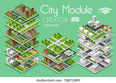 City module creator isometric concept of urban infrastructure business. Vector building illustration of school university education of  elements architecture, home, construction, block and park