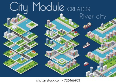 City module creator isometric concept of urban infrastructure business. Vector building illustration of river embankment with bridges of elements architecture, home, construction, block and park