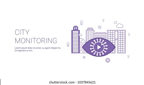 City Monitoring Video Security Template Web Banner With Copy Space Vector Illustration