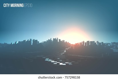 City morning landscape. Cityscape vector background. Urban morning illustration