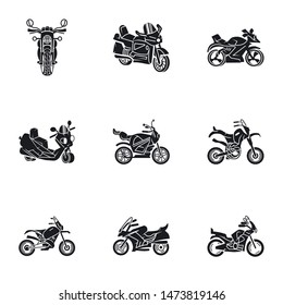 City motorbike icon set. Simple set of 9 city motorbike vector icons for web design isolated on white background