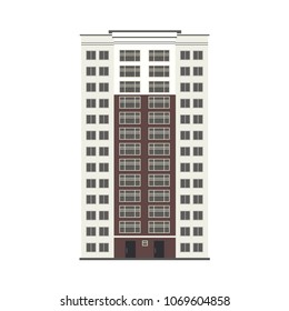 City multi storey building exterior front view with windows, balconies and doors in flat style isolated on white background. Modern high-rise apartment or office building. Vector illustration