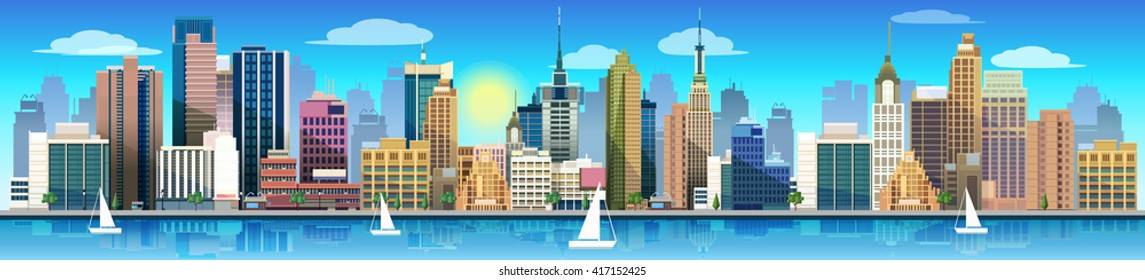 City and nature, vector landscape