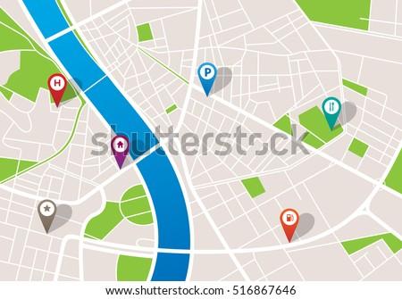 city navigation map pins のベクター画像素材 ロイヤリティフリー