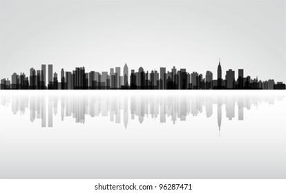 City New York panorama, vector