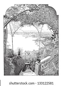 City of Nice, in Provence-Alpes-C���´te d'Azur, France, showing the port entry, vintage engraved illustration. Dictionary of Words and Things - Larive and Fleury - 1895