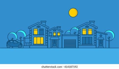 City night, car, house, moon