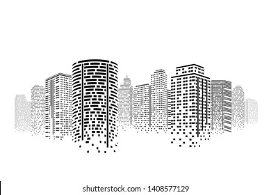 City at night. Modern flat design. Cityscape skyscraper on isolated or white background. Futuristic technology concept.