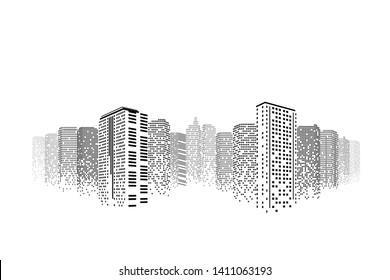 City at night. Modern flat design. Cityscape skyscraper on isolated or white background. Futuristic digital city  concept.