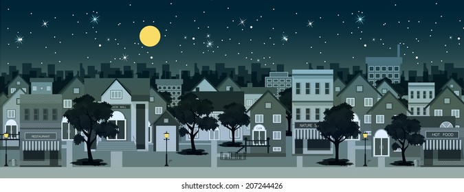 City at night with moon in the background.