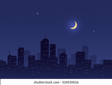City Night with Moon and Stars Background