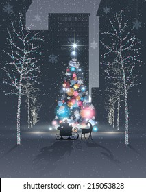 City at night. Reindeer and Santa's sleigh with gifts are in front of beautiful decorated and illuminated colorful Christmas tree. Lighted trees. Holidays spirit concept. Vector EPS 10 illustration.