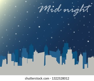 City Night with Stars Background. Illustrator