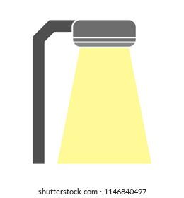 City night street light with light from streetlight lamp. Outdoor Lamp. Spotlight Vector illustration