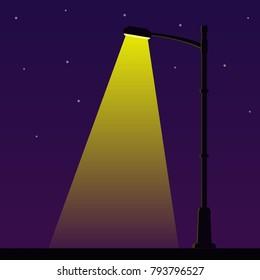 City night street light with light from streetlight lamp. Outdoor Lamp post in flat style. Spotlight Vector illustration