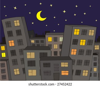 The City at Night - Vector
