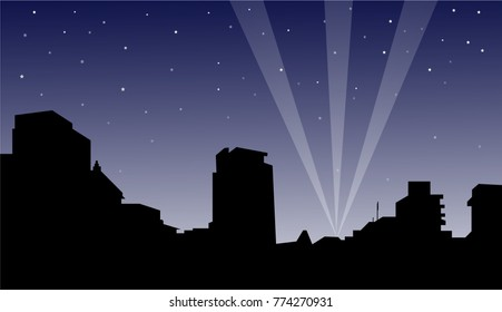 City Night is a vector illustration. Buildings silhouette and night light rays scene is the main composition of this illustration.