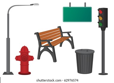 City objects: dustbin, lamppost, hydrant, traffic light, bench and sign