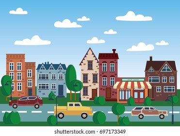 City of old houses. Illustration with houses in a row. Place for the text. The old city by day.