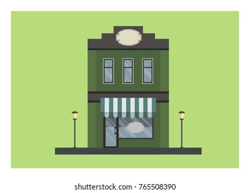 city old shop building with blank signage simple illustration