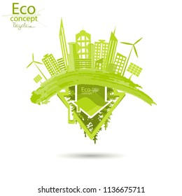 The city on the globe. Environmentally friendly world. Illustration of ecology the concept of info graphics. Recycling. Simple minimalistic style. Simple illustrated illustration for printing. Vector
