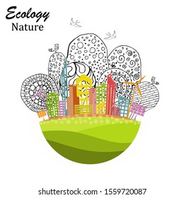The city on the globe. Environmentally friendly world. Illustration of ecology the concept of info graphics. Icon. Simple modern minimalistic style. Simple illustrated illustration for printing.Dood