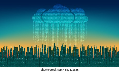 The city on line. Abstract futuristic digital city, binary rain, cloud service connected, high-tech background. Network digital technology concept