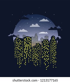City on the night background.