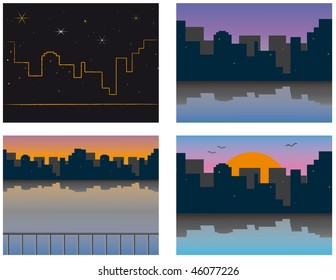 City on the river bank. Vector illustration