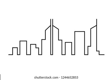 City on a white background. City Skyline. The silhouette of the city in a flat style.