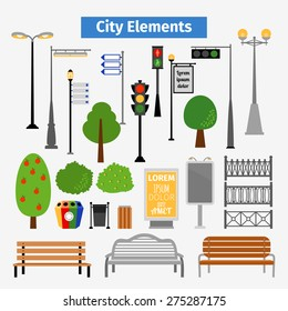 City and outdoor elements. Lamppost and container, bush and signboards, vector illustration