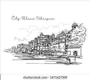City Palace, Udaipur, Rajasthan India.Built on the banks of Lake Pichola