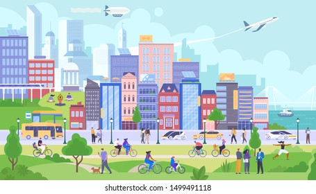 City panorama flat vector illustration. Happy citizens after quarantine. Smiling people rest in public park after isolation. Urban life, different activities, leisure. Buildings and transportation
