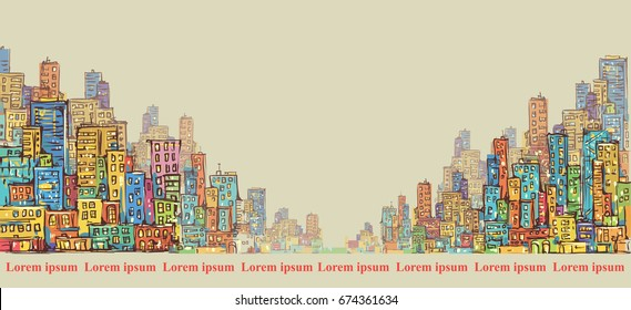 City panorama, hand drawn cityscape, vector drawing illustration