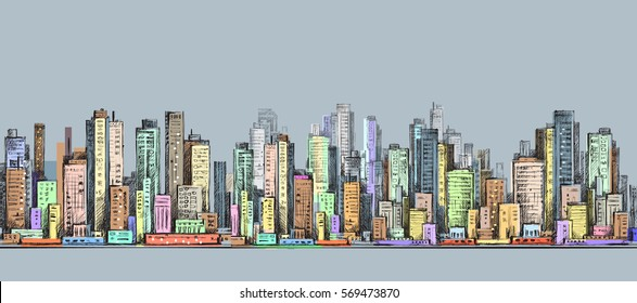 City panorama, hand drawn city skyline, vector drawing illustration