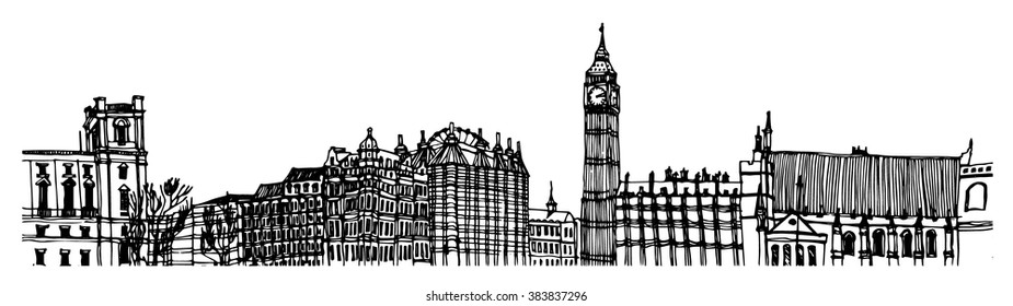 City panorama illustration. Hand drawn line sketch European old town London, historical architecture with building, roof. Ink drawing of cityscape, perspective view. Travel postcard. Birds eye view