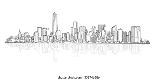 City panoramic skyline view. Urban architectural buildings. Cityscape sketch.