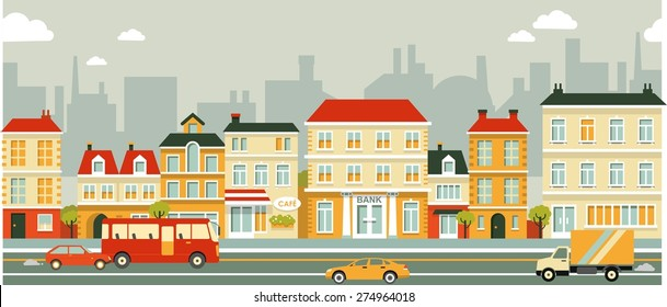 City panoramic street seamless background in flat style