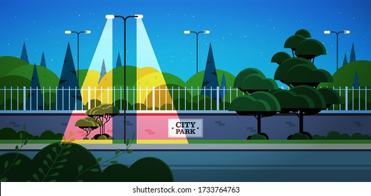 city park banner on fence beautiful night landscape background horizontal vector illustration