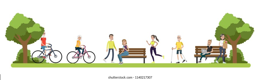 City park with beautiful landscape. People relax in the nature with green trees around, riding bicycles, jogging and sitting on the benches. Isolated vector flat illustration
