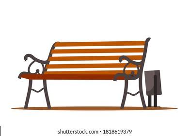 City park bench with bin, outdoor background. Urban landscape vector illustration. Wooden cartoon elements, front view of summer recreation furniture. Empty modern vintage seat.