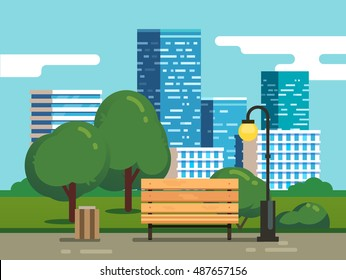 City park with bench with downtown skyscrapers in the background. Modern flat style vector illustration.