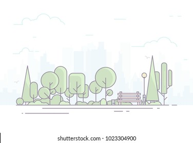 City park bench, lawn and trees. Flat style line vector illustration with light colors. Big city on background, skyscrapers. Green park in center of town. Clouds and sky. Parks and recreation concept.