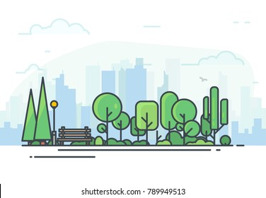 City park bench, lawn and trees. Flat style line vector illustration. On background business city center with skyscrapers. Green park in center of town. Clouds and sky. Parks and recreation concept.