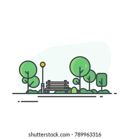 City park bench, lawn and trees, street lamp. Flat style line vector illustration. Green park in center of town. Parks and recreation concept.