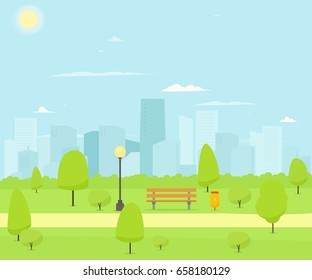 City Park with bench. Vector Nature Landscape