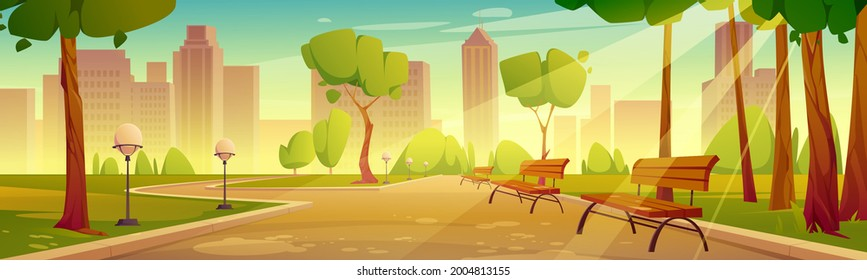 City park with benches summer scenery landscape. Urban garden with street lamps along pathway perspective view on cityscape background, empty public place with green trees, Cartoon vector illustration